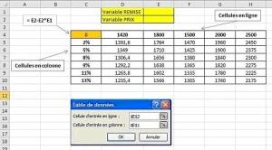Tableau de données à 2 variables Excel